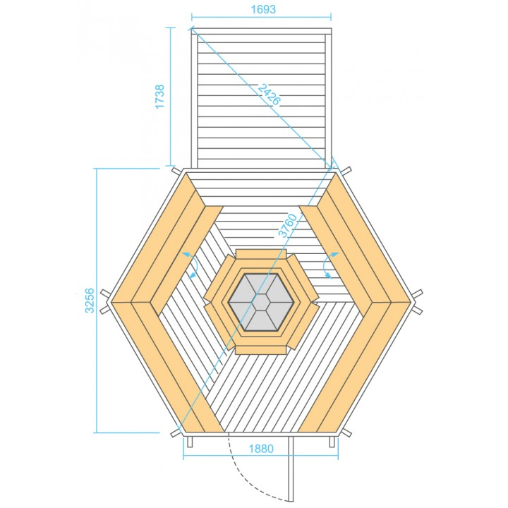 9.2 m² GRILL-KOTA DELUXE mit Anbau (2.9 m²)
