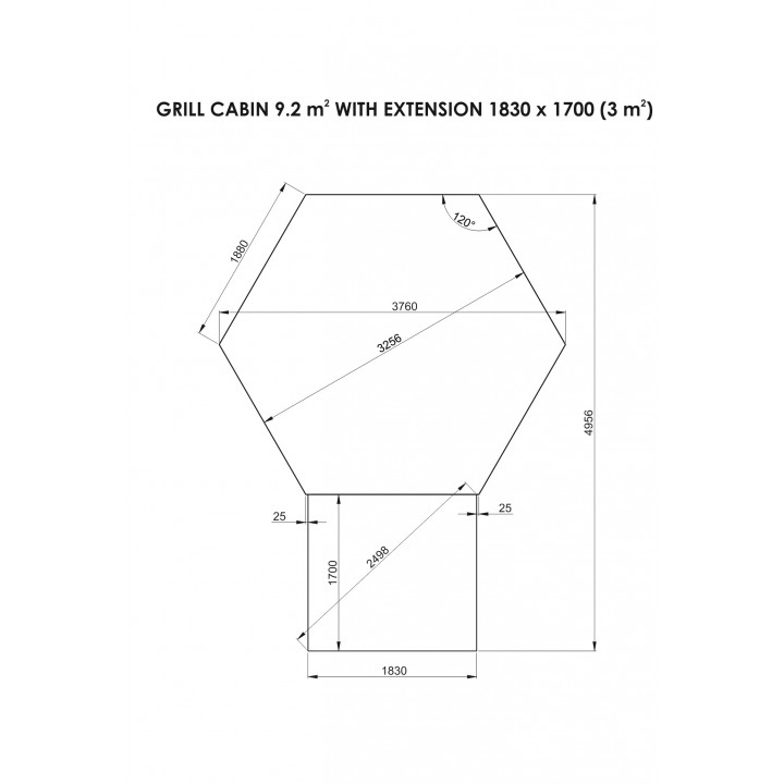 9.2 m² GRILL-KOTA DELUXE mit Anbau (3 m²)