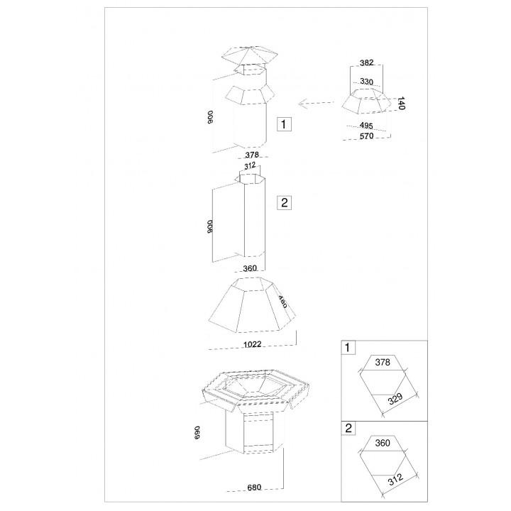 Standard 6-eckiges Grill- und Rauchabzug-Set