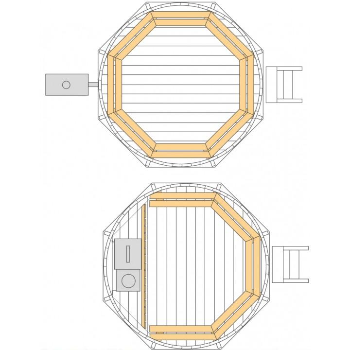 Ø2,2m Badetonne (HOT TUB) aus Fichtenholz