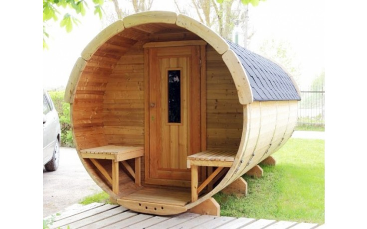 SAUNA-FASS aus Thermo-Holz ( 4m lang / Ø2,2m)