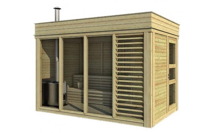 Sauna Cube 2 x 4 m mit Umkleideraum