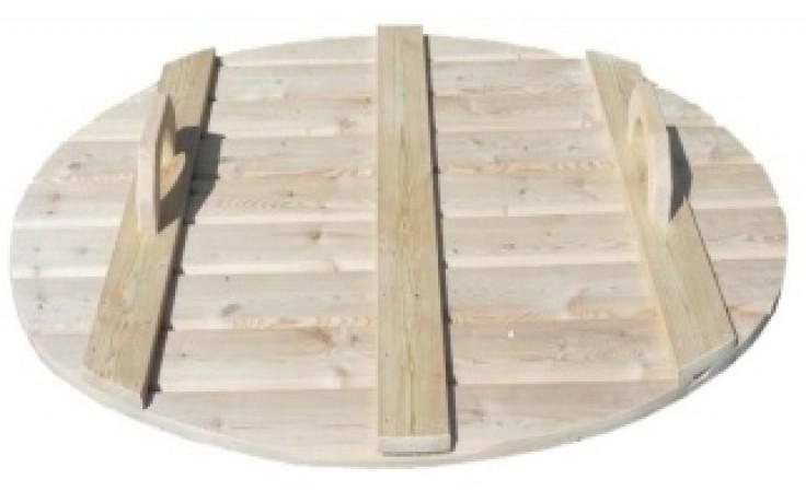 Fichtenholz-Abdeckung Ø 1,5m x 0,85 m für ovalen Tauchbottich COLD TUB