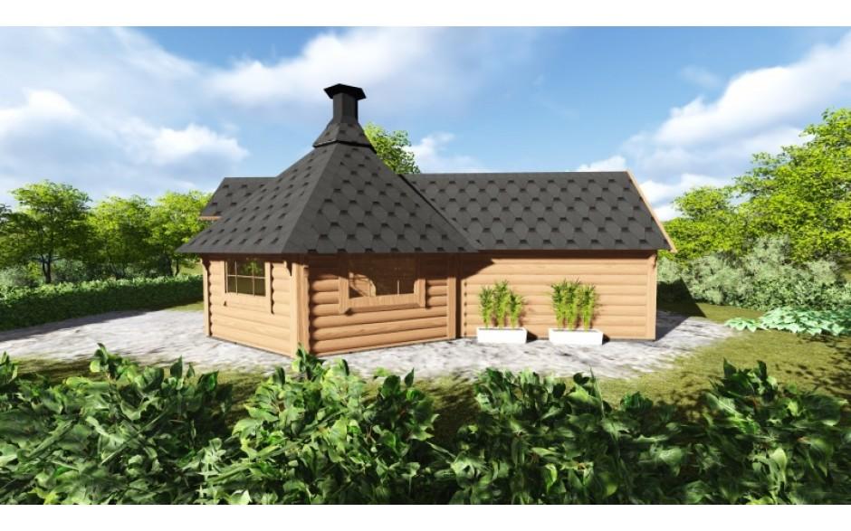 9.2 m² Grill-Kota mit Sauna-Anbau (4.3 m²)