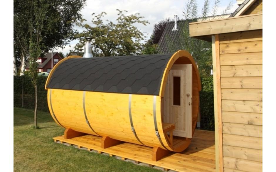 SAUNA-FASS aus Thermo-Holz ( 3m lang / Ø2,2m)