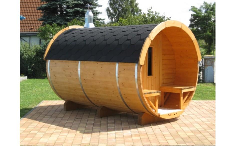 SAUNA-FASS aus Fichtenholz ( 3,5m lang / Ø2,2m)