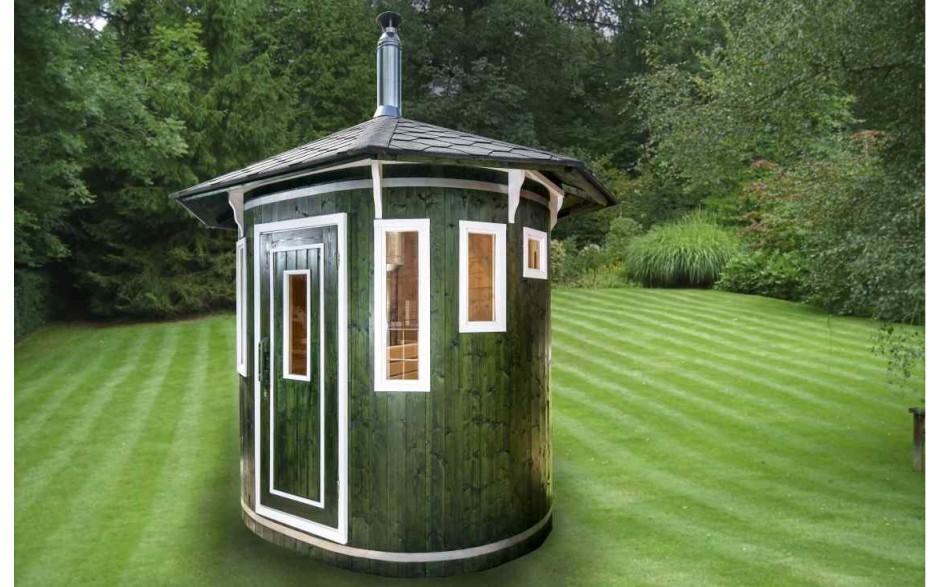 Ovale Sauna-Kabine aus Fichtenholz