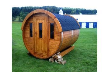 SAUNA-FASS aus Thermo-Holz ( 2m lang / Ø1,9m)